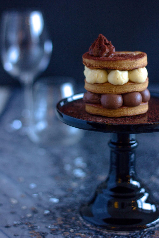 Čokoládovo-vanilkové millefeuille. Listové těsto.