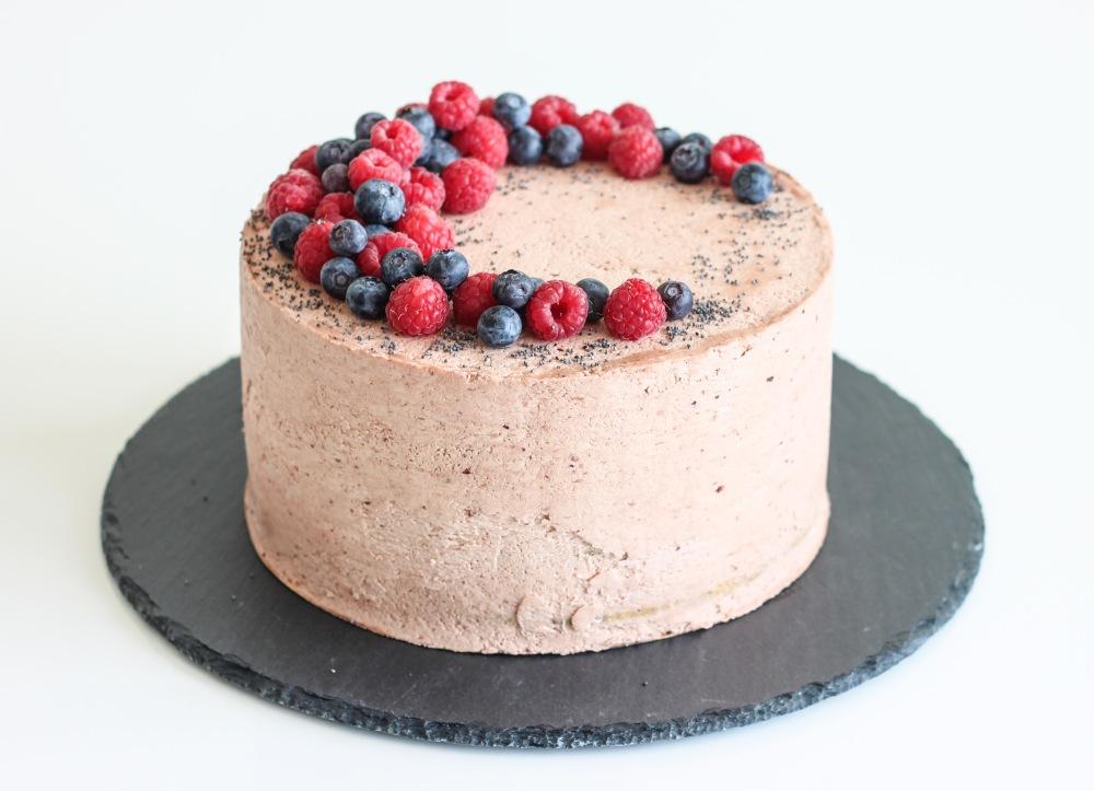 Ostružinovo-makový dort